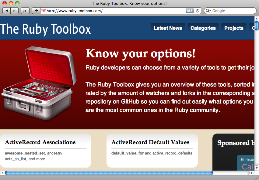 La portada de The Ruby Toolbox.