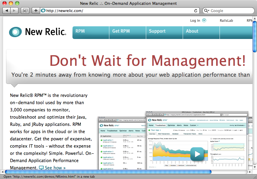 The New Relic home page.