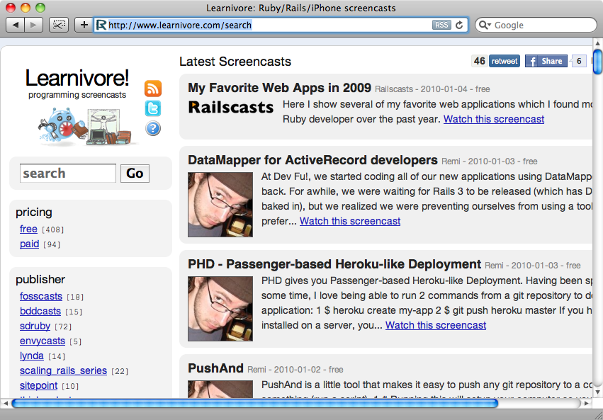 The Learnivore home page.
