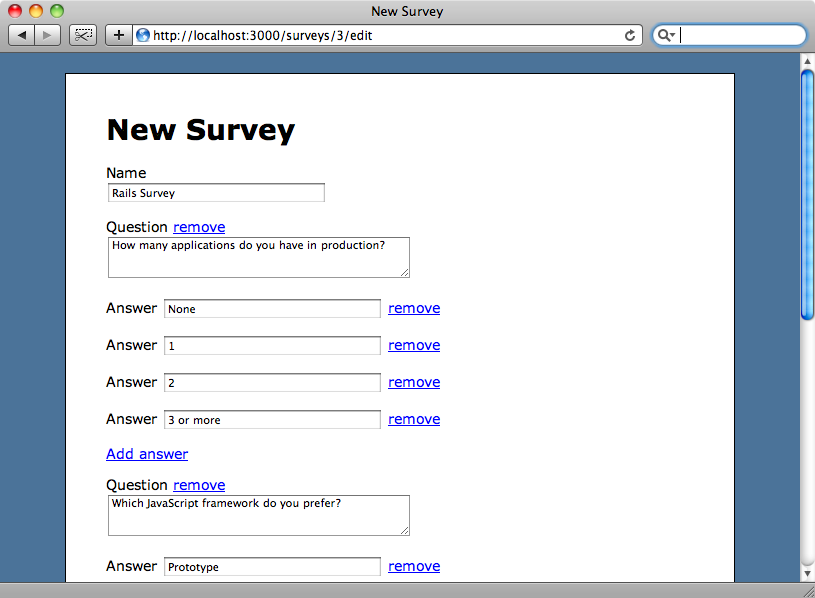 The complex form for creating and editing surveys.