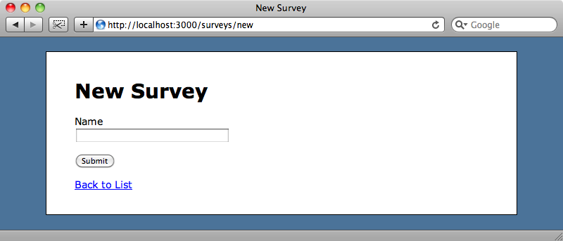 The scaffold-generated basic survey form.