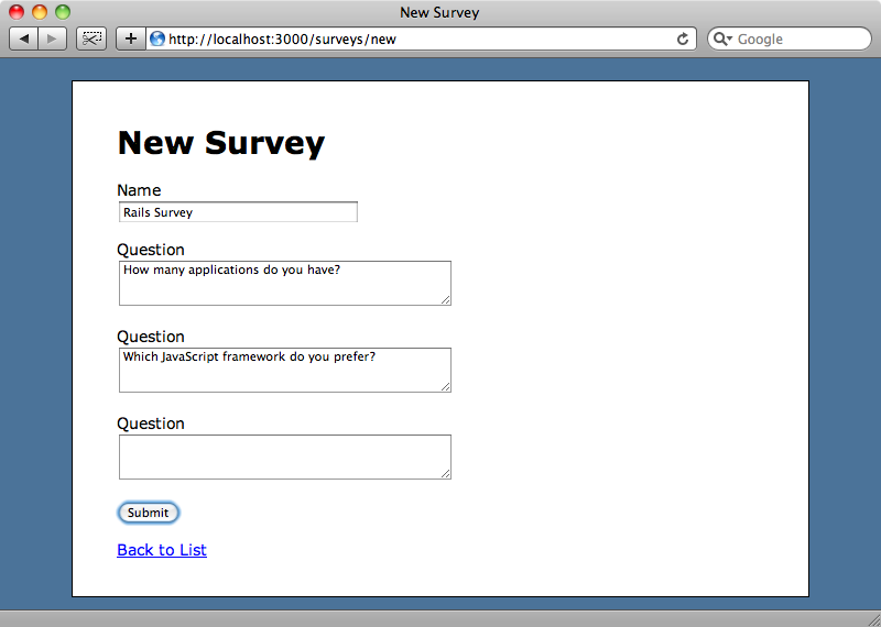Filling in the new survey form.