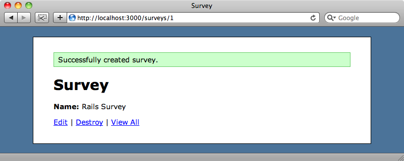 The questions aren't shown on the survey page.