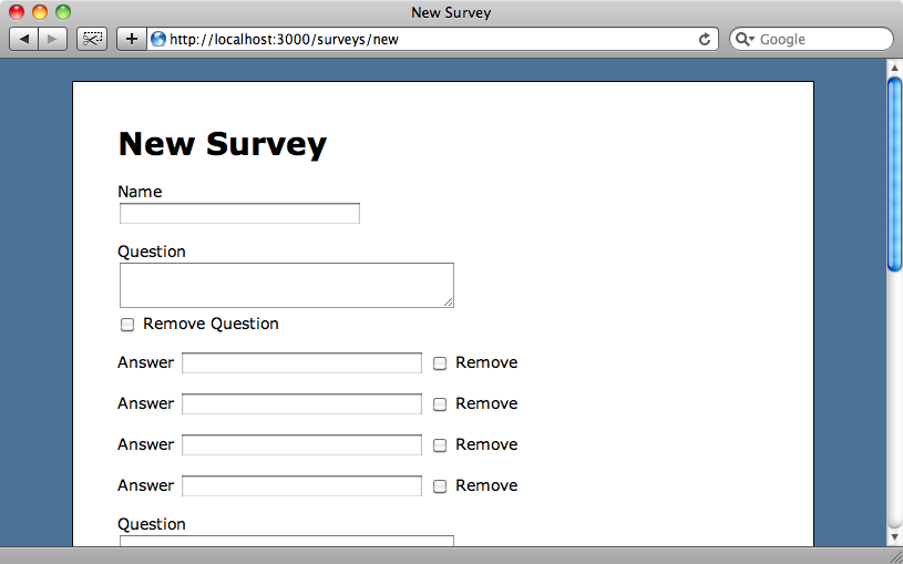 Answer fields are now shown in the survey form.