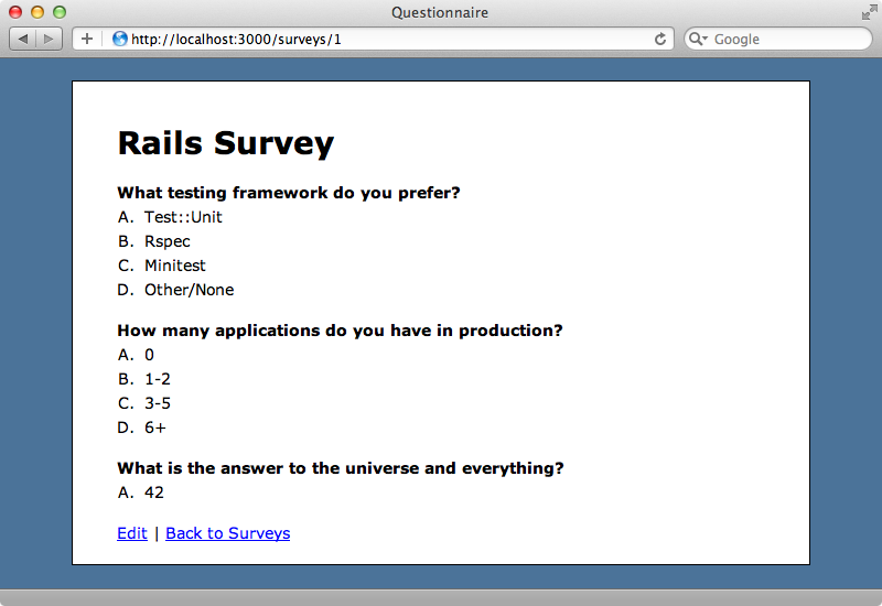 Our survey application.