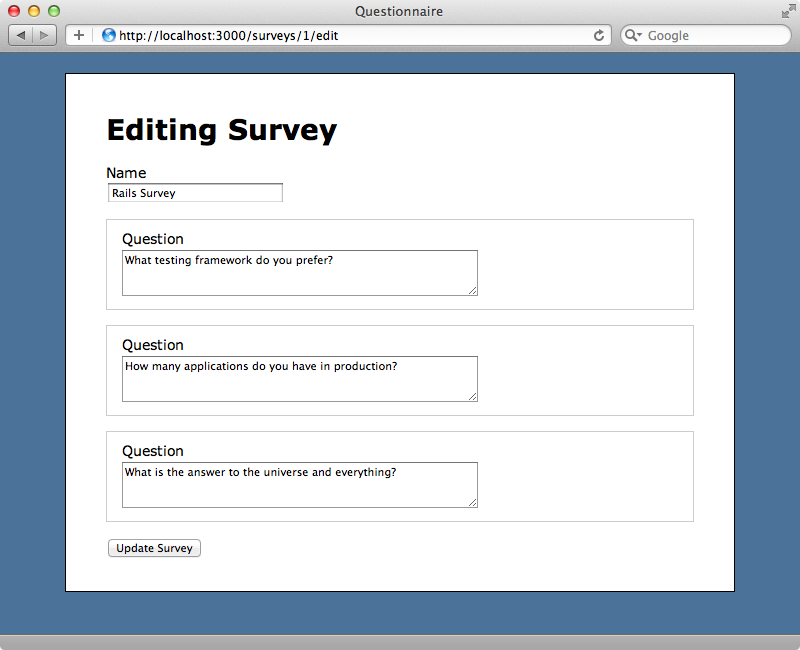 We can now edit each question.