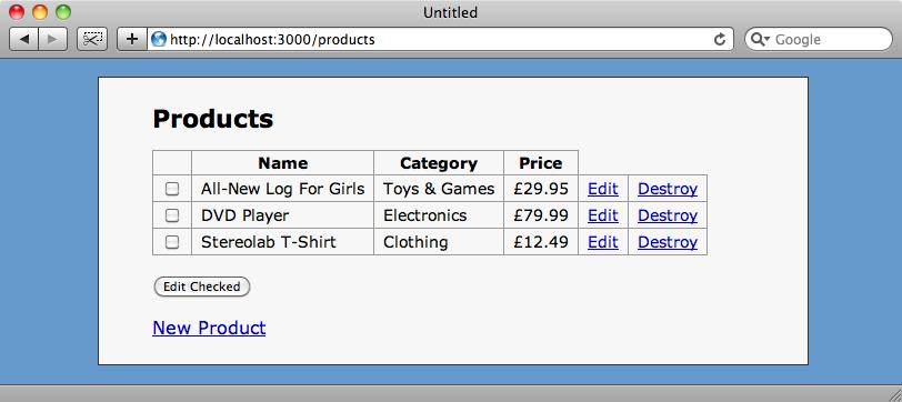 L'elenco dei prodotti nella nostra precedente applicazione.