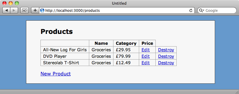 La tabella dei prodotti generata con lo scaffold.