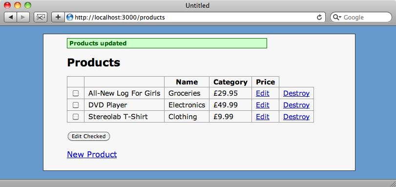 La pagina index dopo la modifica dei due prodotti.