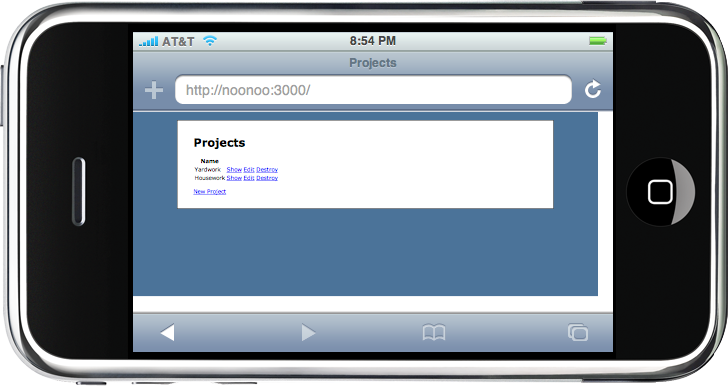 The site viewed in the iPhoney emulator.