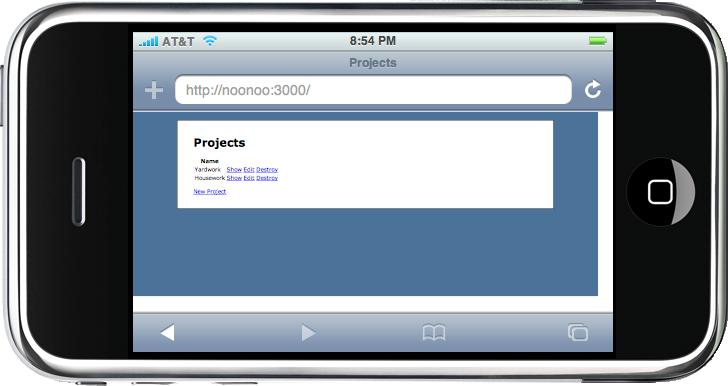 El sitio visto en el simulador iPhoney.
