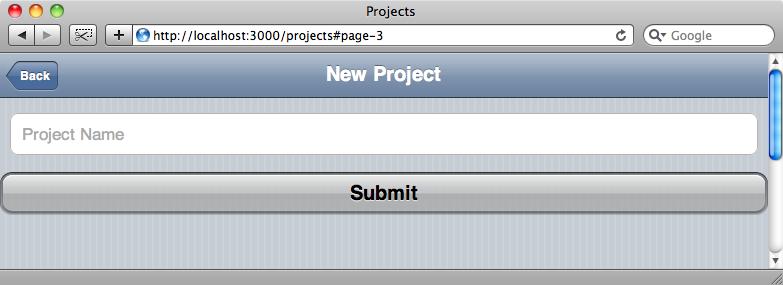 La página de alta de proyecto en la versión móvil.