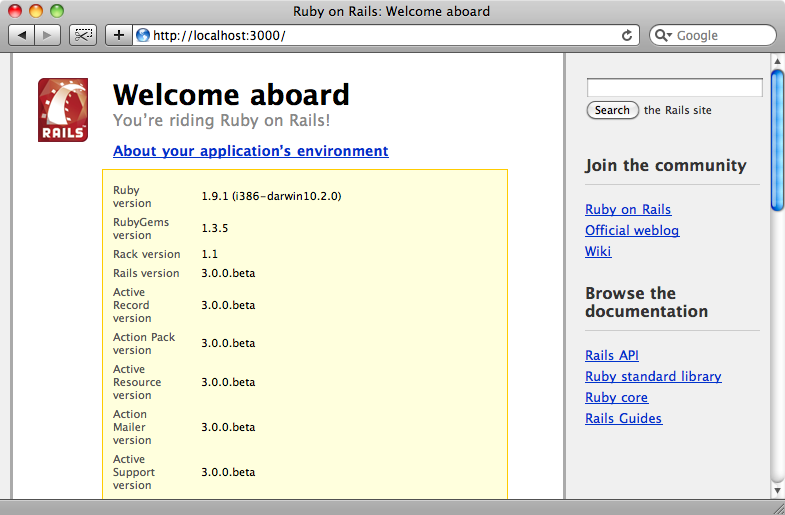 The welcome page for our first Rails 3.0 application.