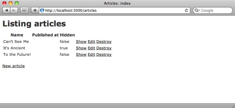 La pagina index degli articoli generata mediante scaffold.