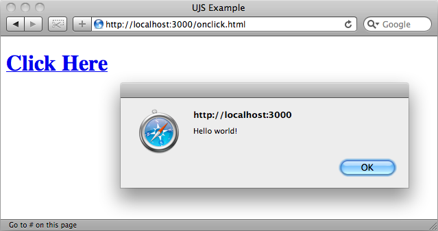 The alert shown by the inline JavaScript.