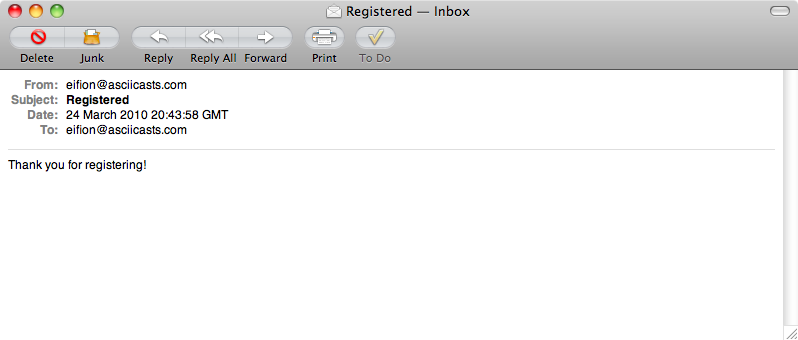 The registration email send from the application.