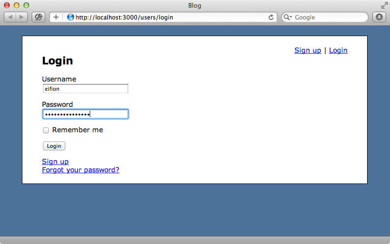 Logging in with a username.