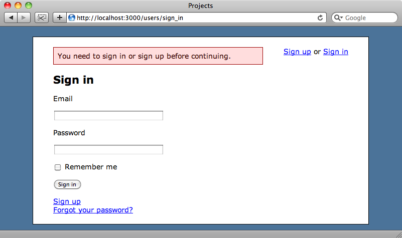 We're redirected to the login page when we try to create a new project.