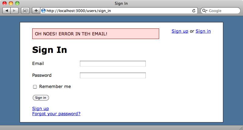 Our custom error message is now shown.