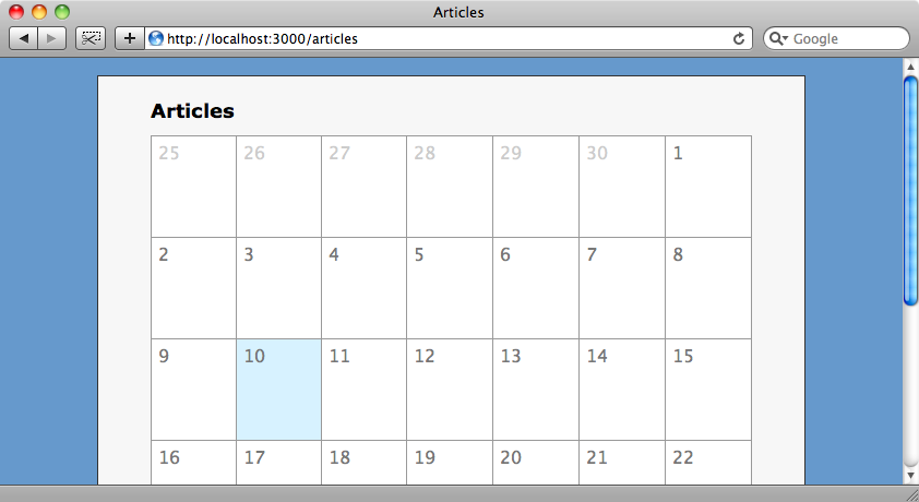 The calendar after adding some styling.
