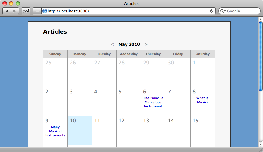 The articles are now listed in the calendar.