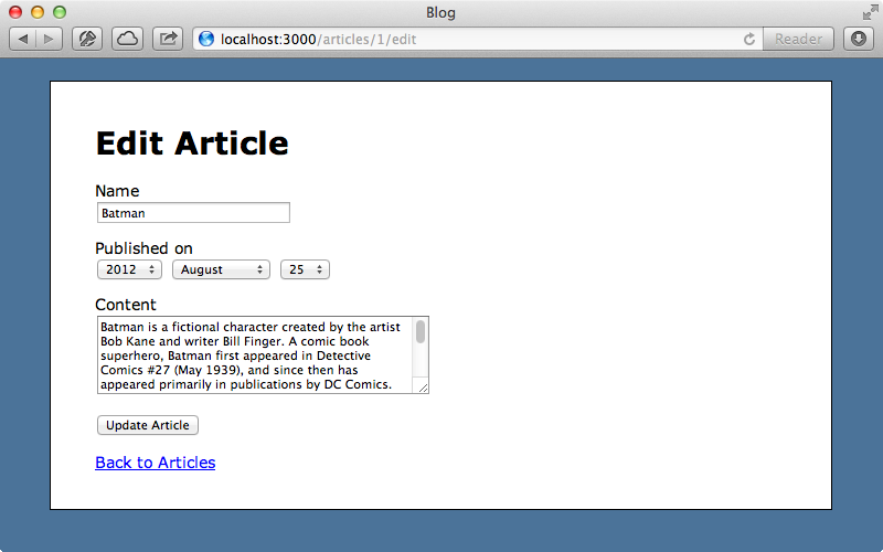 The form for editing an article.