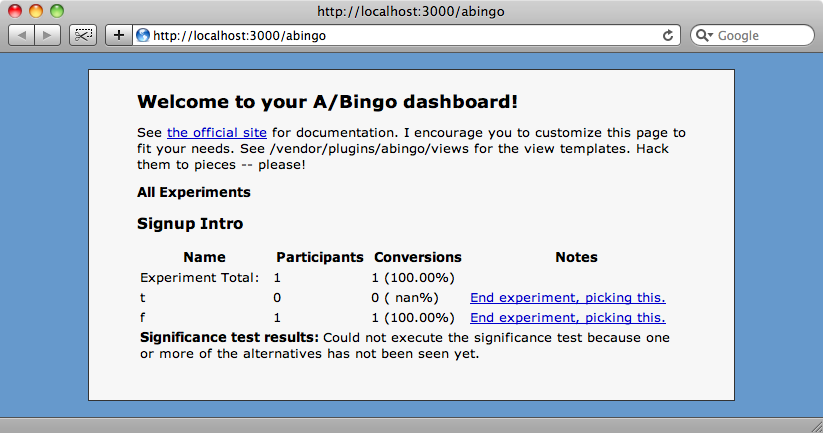 The A/Bingo dashboard page.