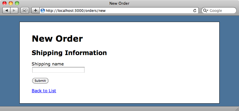 The order form now only shows the first step.