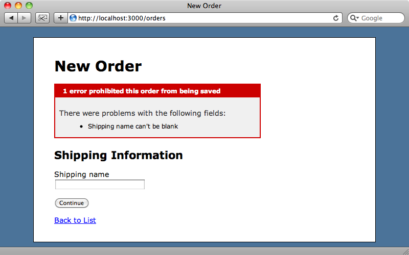 Only the error for the shipping step is shown.