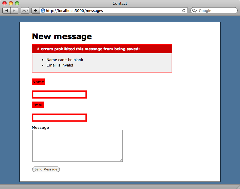 The form now works, including the validators.