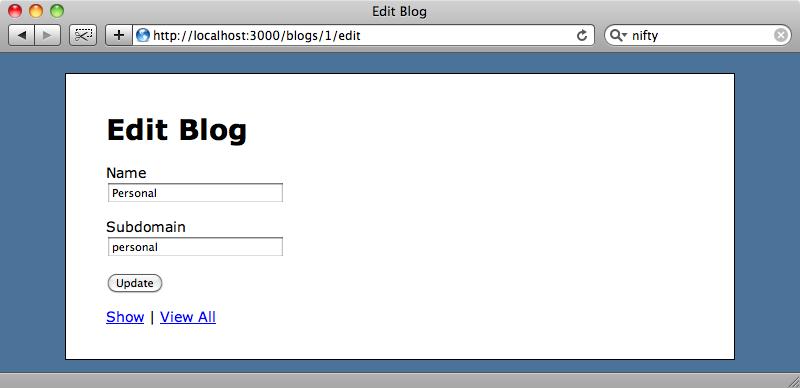Página de edición de un blog