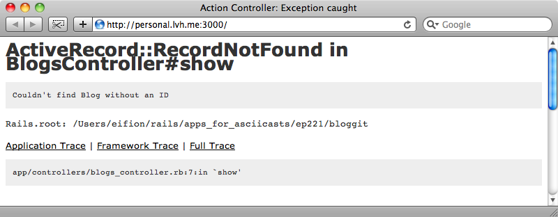 The show page throws an error because the controller expects as ID.