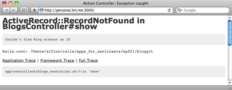La página muestra un error porque el controlador espera un identificador.