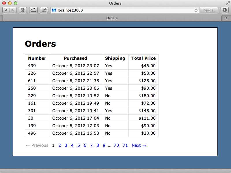 Our Orders page.