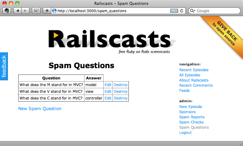 The Spam Questions page.