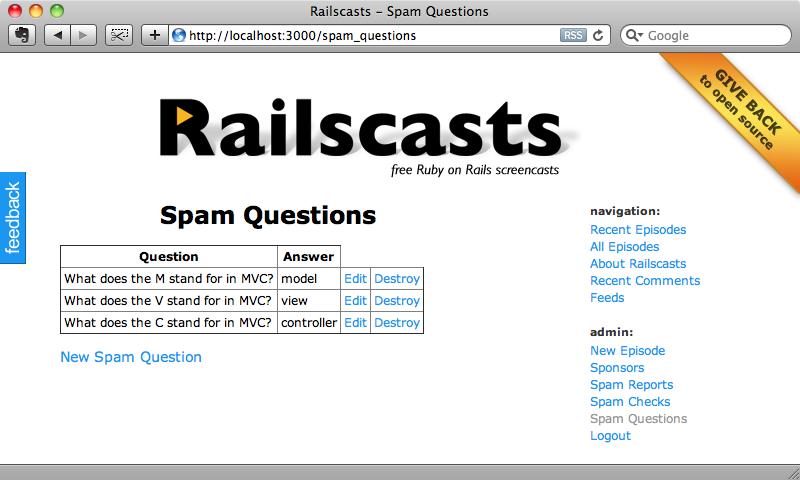 La pagina Spam Questions.