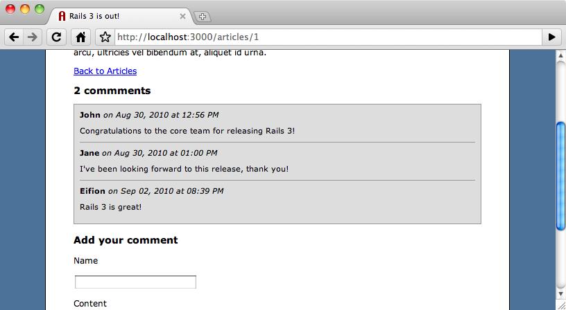 Il nuovo commento viene mostrato automaticamente nell'altra finestra del browser.