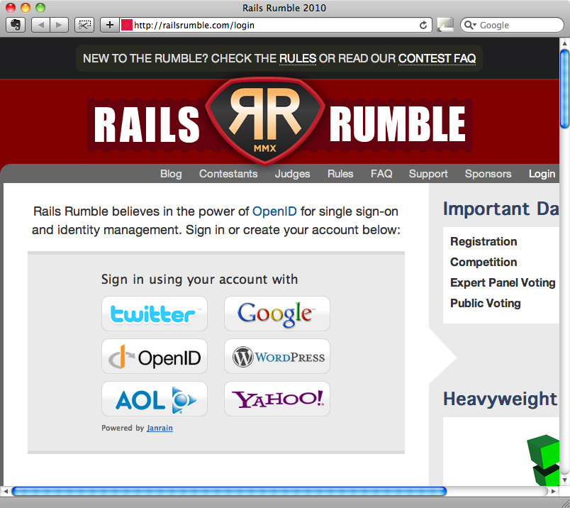 La pagina di login a Rails Rumble.