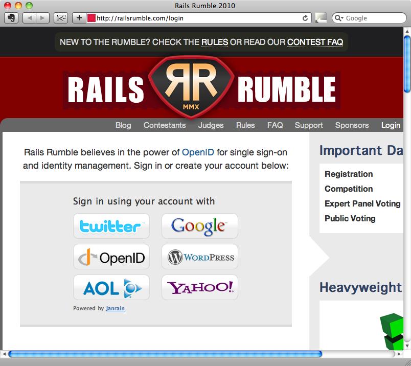 Página de inicio de sesión de Rails Rumble.