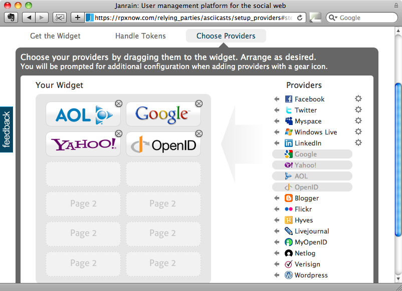 Choix des fournisseurs d'authentification pour notre application.