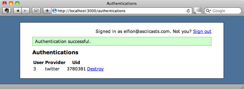 Authenticated successfully.