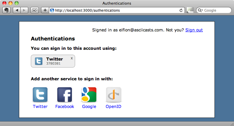 The authentication page after adding the icons.