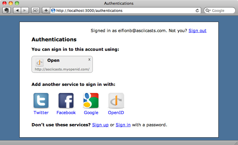 The OpenID authentication is now listed for the user.