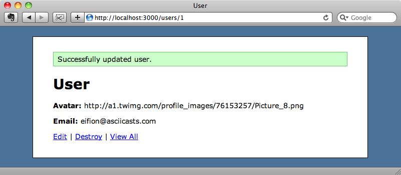 Asignación de avatar_url de un usuario.