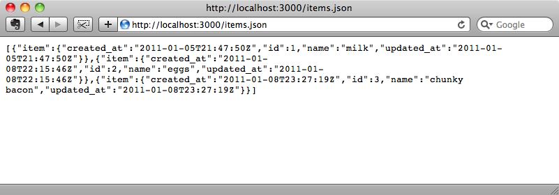 Los elementos de la base de datos en JSON.