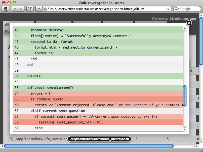 Code coverage in SimpleCov.