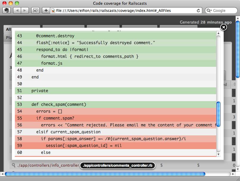 Cobertura del código en SimpleCov.