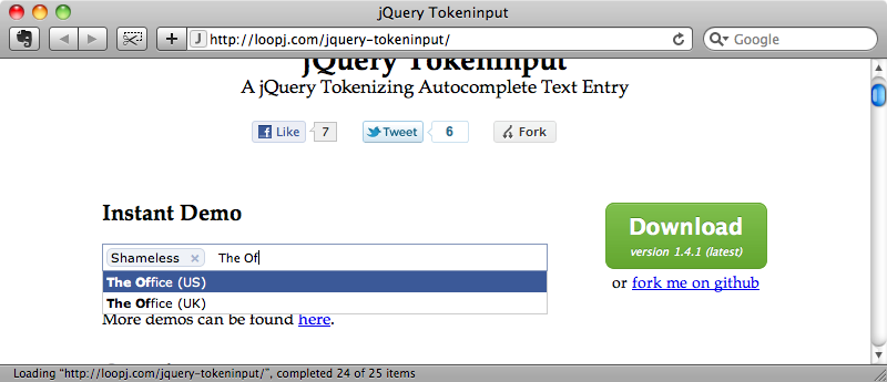 The demo on the jQuery Token input site.