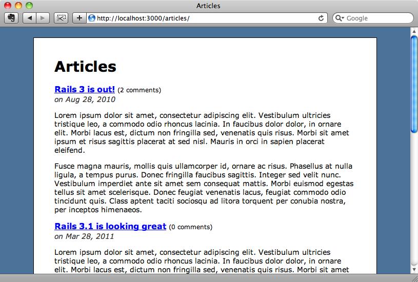 簡単なブログアプリケーション