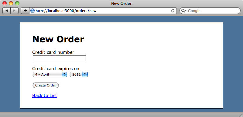 The order page with the credit card field.